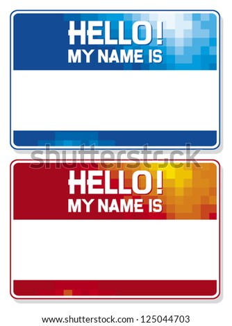 hello my name is card (blue and red name tag blank sticker hello my name is, name tag blank stickers set) - stock vector
