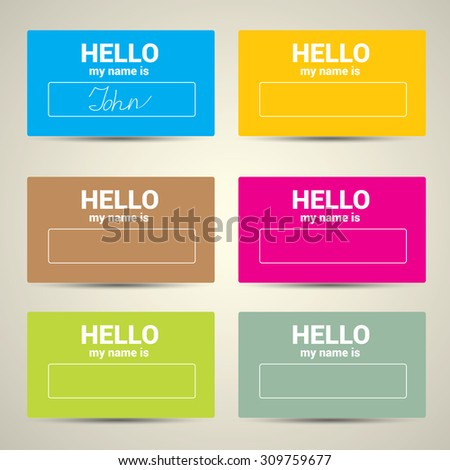 Hello My Name Is... Name Tag Set. Vector  Business card set - stock vector