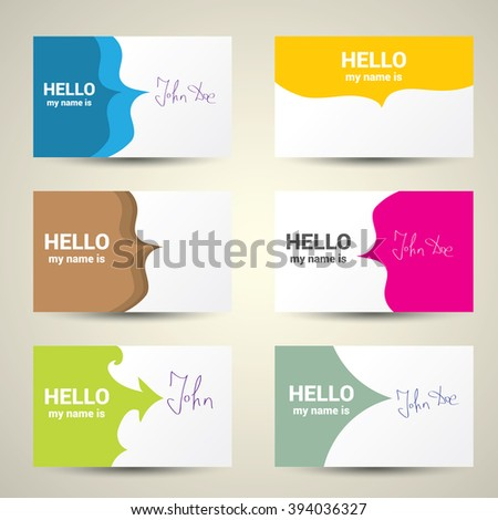 Hello My Name Is. Name Tag Set. Vector Business card set - stock vector