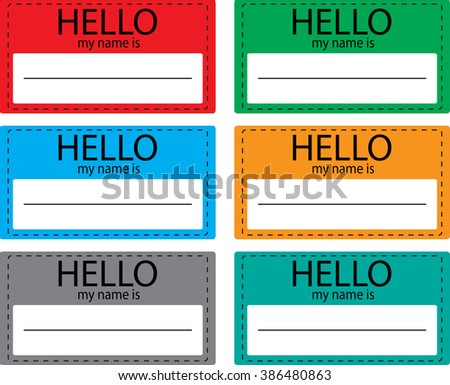 Hello my name is sticker icon set color. Name tag, name card, baby names, name plate, list of names, my name is, registration and inscription, paper welcome identity. Vector design illustration - stock vector