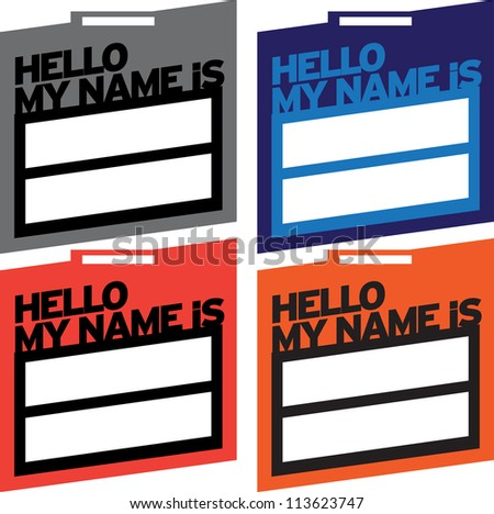 Hello Name Tag - stock vector