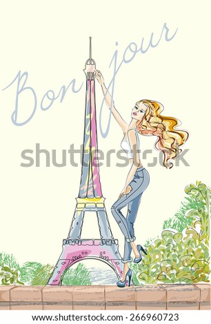 Hello, Paris. Fashion girl near Eiffel Tower hand drawn illustration Background with model - stock vector
