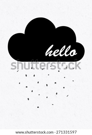 hello poster with clouds and rain on watercolor paper background - stock vector
