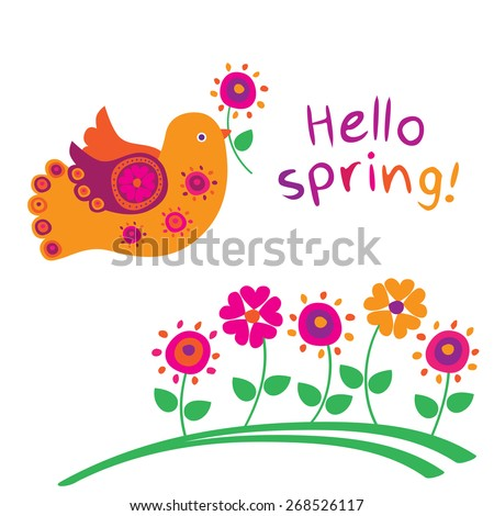 Hello spring. Bird and spring flowers. Greeting card. Congratulation. Elements for mother's day, birthday, wedding. Vector illustration - stock vector