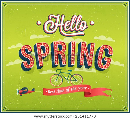 Hello spring typographic design. Vector illustration. - stock vector