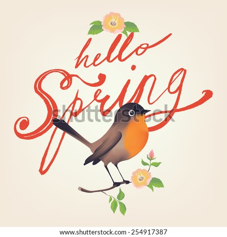 Hello Spring vector hand drawn retro brush script lettering design with little bird sitting on tree branch with leaves and blossoms decorative element. Ideal for greeting cards, stickers and posters  - stock vector