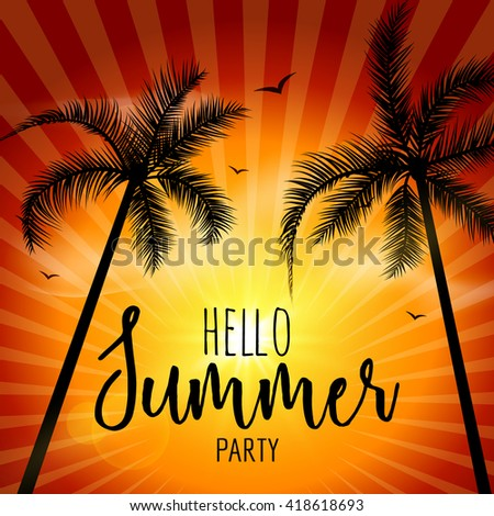 Hello Summer Beach Party. Tropical poster with sunset or sunrise bright background and palm exotic island. - stock vector