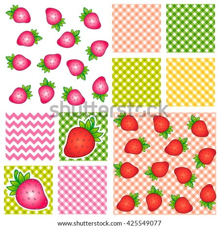Hello summer. Bright strawberry and flat pattern. Design for fabric textile, kitchen design, summer clothes. Zigzag pattern. Lines pattern. Set seamless pattern - stock vector