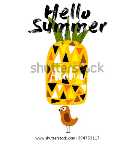 Hello Summer-Concept poster with pineapple and bird.- stock vector - stock vector