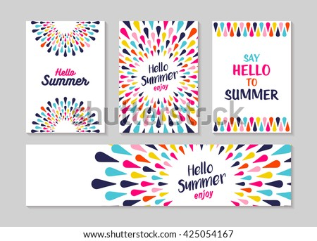 Hello summer lettering label or greeting card set designs, enjoy vacation concept with colorful decoration. Summertime party invitation or fun typography poster. EPS10 vector. - stock vector