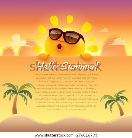 Hello Summer! Summer greeting card. Wide copy space for text. - stock vector