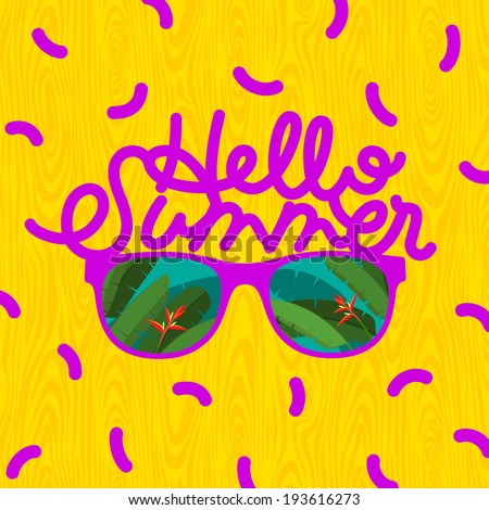 Hello summer, sunglasses with tropical island reflection, vector illustration. - stock vector