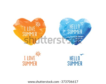 Hello summer. Symbol of summer. Blue and yellow watercolor hearts. Doodles, sketch for your design. Vector illustration - stock vector