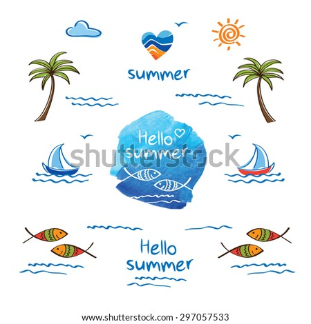 Hello summer. Symbol of summer. Palm trees, sun, sea, fish and heart for your design.  Doodles, sketch. Heart and fish on the blue watercolor background. Watercolor element. Vector illustration. - stock vector