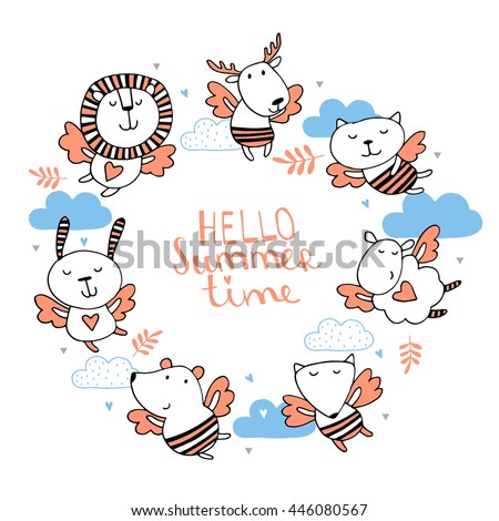 Hello summer time.Cute background with animals - stock vector