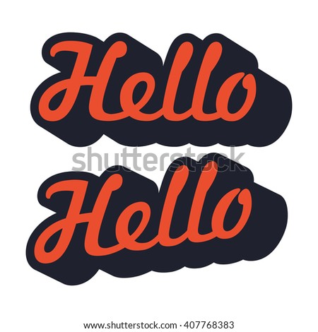 Hello typography with outline and long shadow style - stock vector
