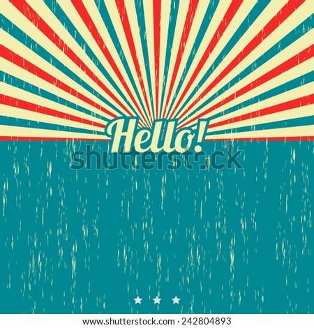 hello vintage theme template - stock vector