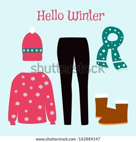 Hello WInter Clothes Collection - stock vector