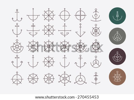 Helm and anchor hipster logos and icon on a gray background - stock vector