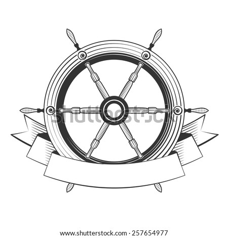 helm boat on a white background, excellent vector illustration, EPS 10 - stock vector