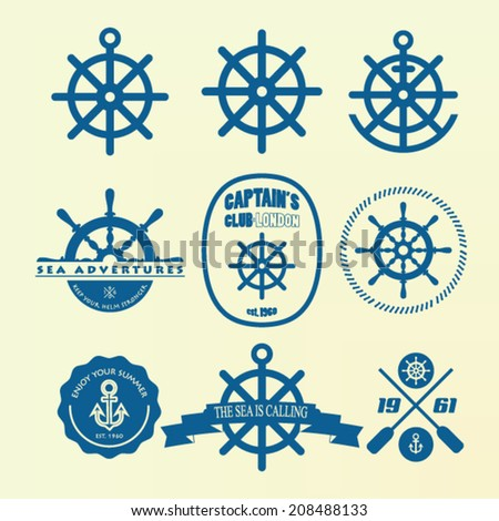 Helm nautical design elements stock vector - stock vector