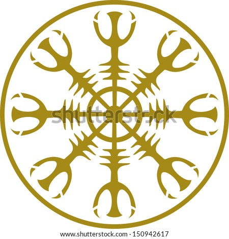 Helm of awe, Aegishjalmur, Icelandic magical sigil - stock vector