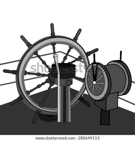 Helm of sailing boat vector illustration. - stock vector