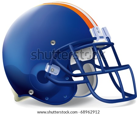 Helmet football blue Orange withe line - stock vector