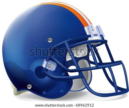 Helmet football blue Orange withe line - stock vector