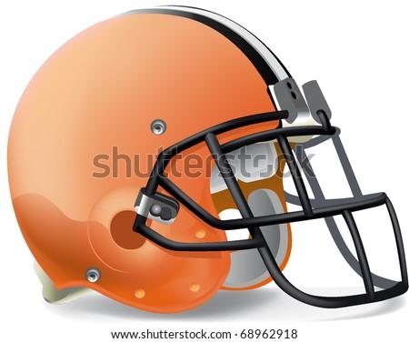 Helmet football Orange black & withe line - stock vector