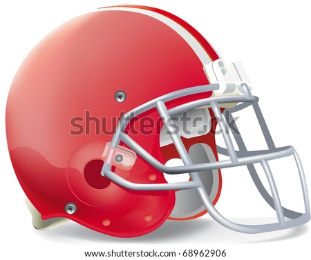 Helmet football red withe line - stock vector