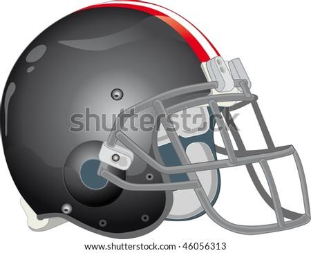 helmet football team black - stock vector