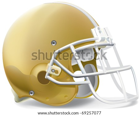 helmet football team Gold & Withe mask - stock vector