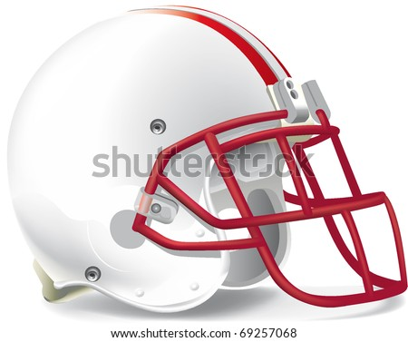 helmet football team withe & red mask red line - stock vector