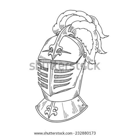 Helmet knight - stock vector