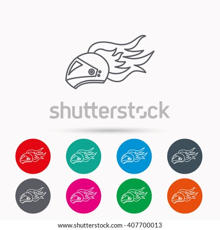 Helmet on fire icon. Motorcycle sport sign. Linear icons in circles on white background. - stock vector
