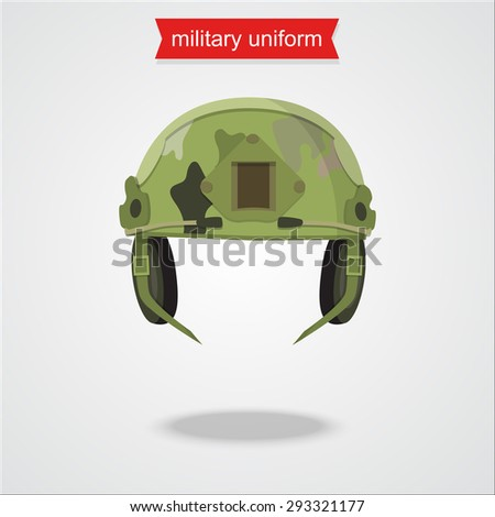 Helmet special camouflage for soldier. Soldier in camouflage. War icon. Military helmet. Uniform element. - stock vector