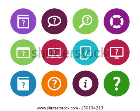 Help and FAQ circle icons on white background. Vector illustration. - stock vector
