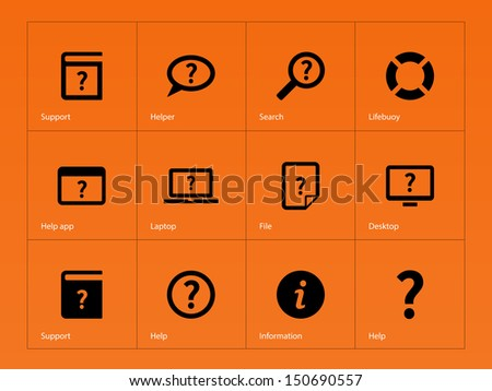 Help and FAQ icons on orange background. Vector illustration. - stock vector