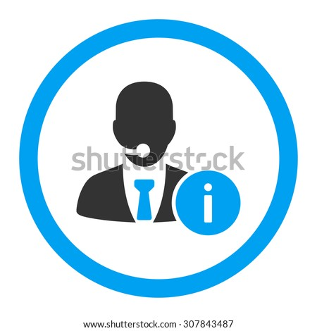 Help desk vector icon. This rounded flat symbol is drawn with blue and gray colors on a white background. - stock vector