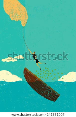 Help escaping bankruptcy - stock vector