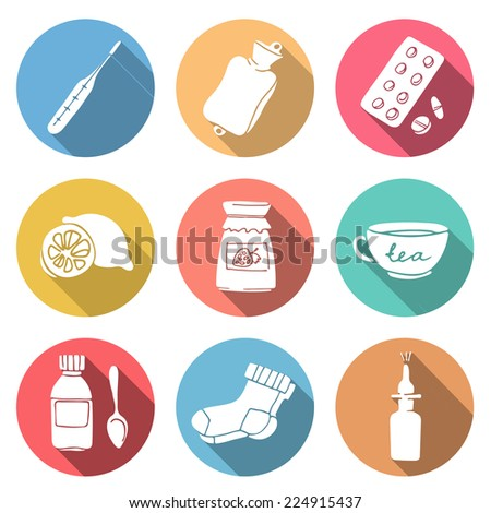 Help for colds set. Set of modern flat round icons with long shadows. - stock vector