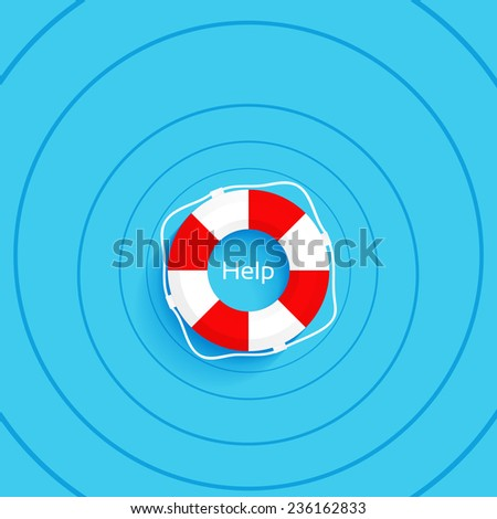 Help, lifebuoy on the water, vector illustration - stock vector