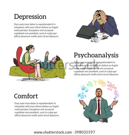 Help psychologist. Psychotherapy. Consulting psychologist doctor. Psychologist listens to patient. Man in depression. The crisis in the country and life. Bad feeling. Relaxed. Search yourself. vector - stock vector