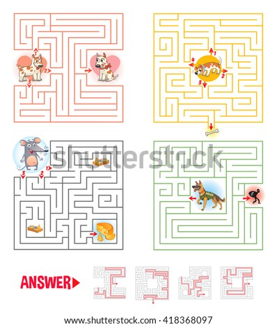 Help the character to find a way out of the maze. Set logical games. Maze Game with Solution. Tangled lines. Funny cartoon character. Vector illustration. Isolated on white background - stock vector