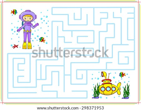 Help the diver go through a maze and find yellow submarine in the ocean. Educational game for children. Vector illustration - stock vector
