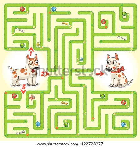 Help the dog to find the right way and to reunite with his girlfriend. Maze Game with Solution. Tangled lines. Funny cartoon character. Vector illustration - stock vector