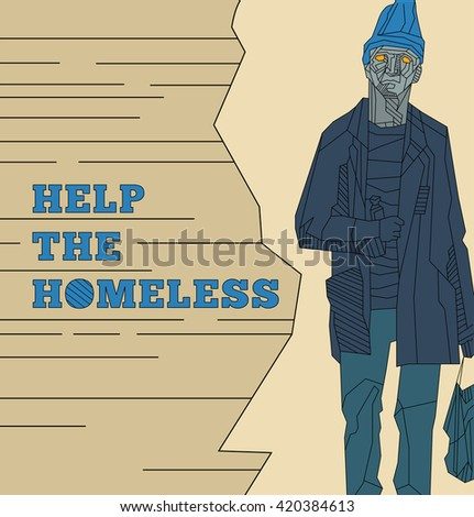 Help the homeless template brochure,flyer. - stock vector
