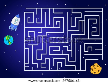 Help the rocket fly to the moon from our planet. Run your spacecraft through the labyrinth. Educational game for children. Vector illustration - stock vector