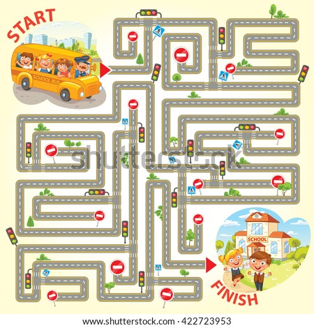 Help the school bus to arrive to school. Maze Game with Solution. Funny cartoon character. Vector illustration - stock vector